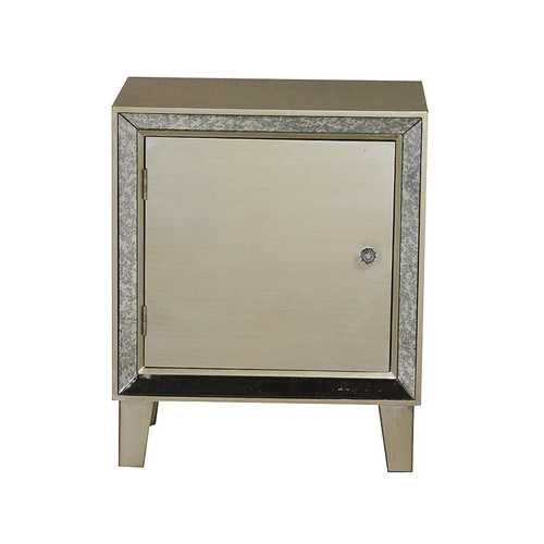 23.5' Champagne Wood Accent Cabinet with a Door and Antique Mirrored Glass