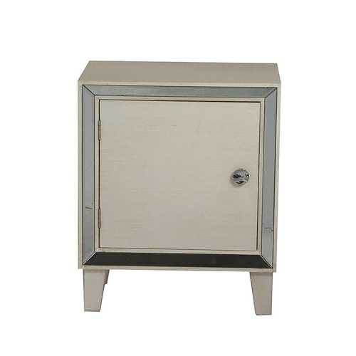 23.5' White Wood Accent Cabinet with a Door and Antique Mirrored Glass