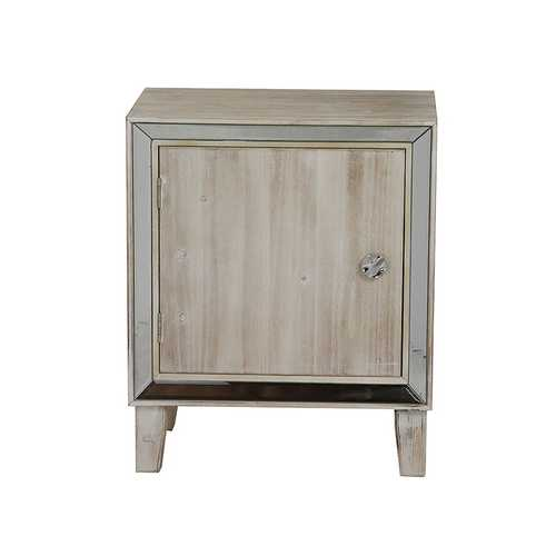 23.5' White Washed Wood Accent Cabinet with a Door and Antique Mirrored Glass