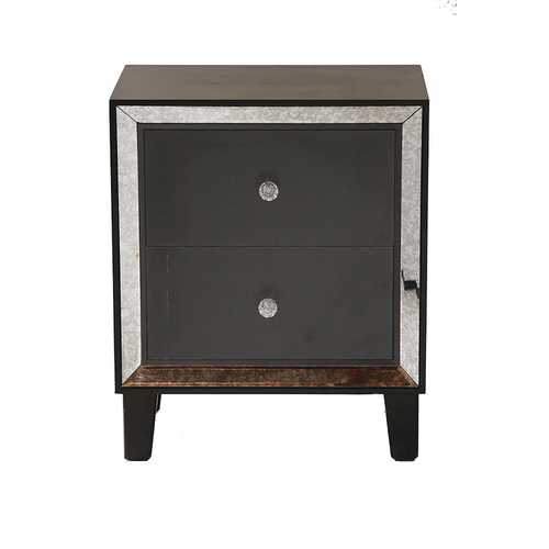 23.5' Black Wood Accent Cabinet with 2 Drawers and Antique Mirrored Glass