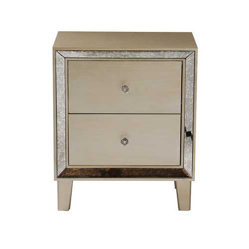23.5' Champagne Wood Accent Cabinet with 2 Drawers and Antique Mirrored Glass