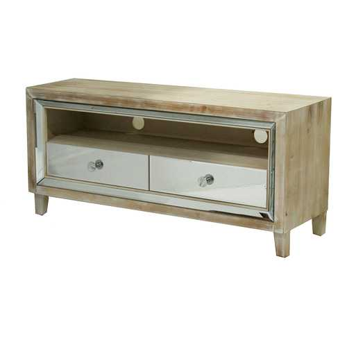 22' White Washed Wood Classic TV Stand with 2 Mirrored Glass Drawers