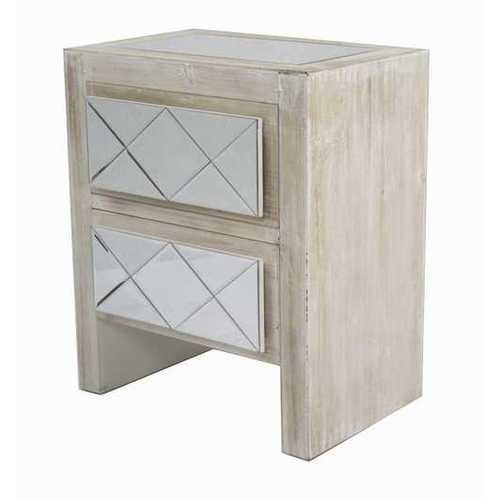 23.6' White Washed Wood Accent Cabinet with 2 Drawers and Mirrored Glass