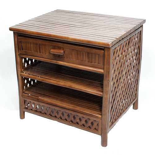 23' Brown Bamboo End Table with a Drawer and 2 shelves