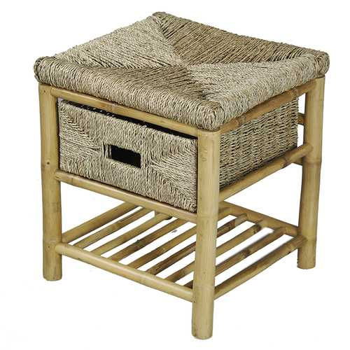 """17"""" X 16"""" X 18"""" Natural Bamboo Frame Storage Stool with a Shelf and a Basket"""