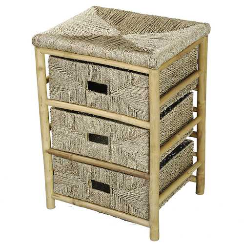 26' Bamboo Frame Storage Cabinet with 3 Baskets