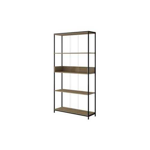 "36.61"" Bookcase With 4 Shelves In Dark Oak And Black"