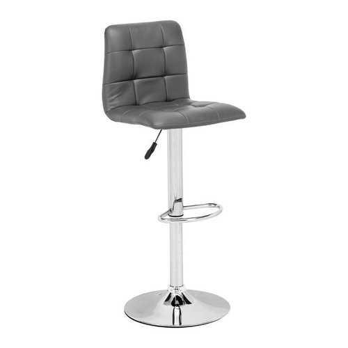 "16.9"" X 16.3"" X 44.9"" Gray Leatherette Chromed Steel Bar Chair"