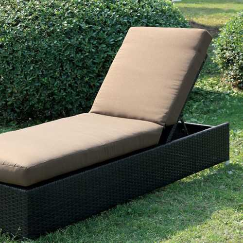 Contemporary Patio Chaise, Brown