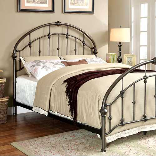 California King Metal Bed with Knot Detailing, Bronze