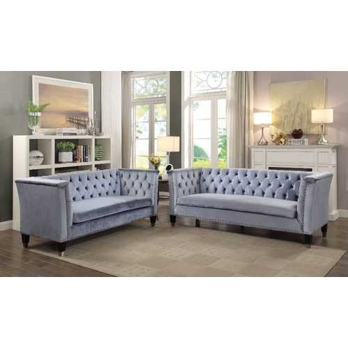 Imperial Looking Sofa, Blue-Gray Velvet