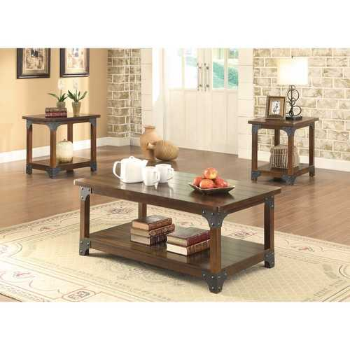 Amazingly Designed 3 Piece Craftsman Occasional Set, Brown