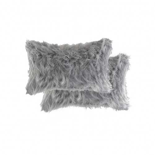 "12"" x 20"" x 5"" Gray, Faux - Pillow 2-Pack"