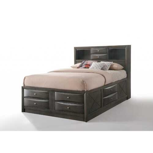 "86"" X 57"" X 56"" Gray Oak Rubber Wood Full Storage Bed"