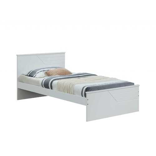 "77"" X 41"" X 32"" Twin White Solid Wood Bed"