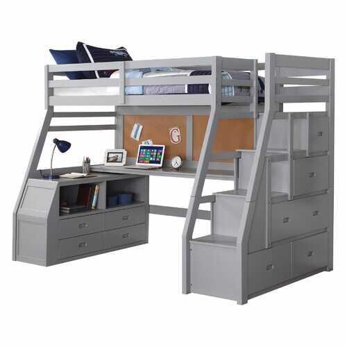 "98"" X 57"" X 73"" Gray Pine Wood Loft Bed"