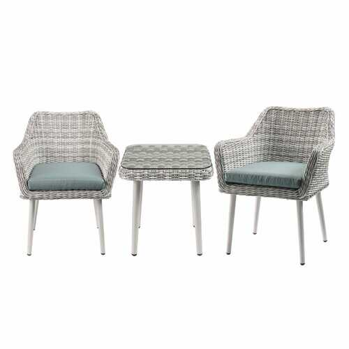 Updated Modern 3 Piece Green and Tan Wicker Patio Set