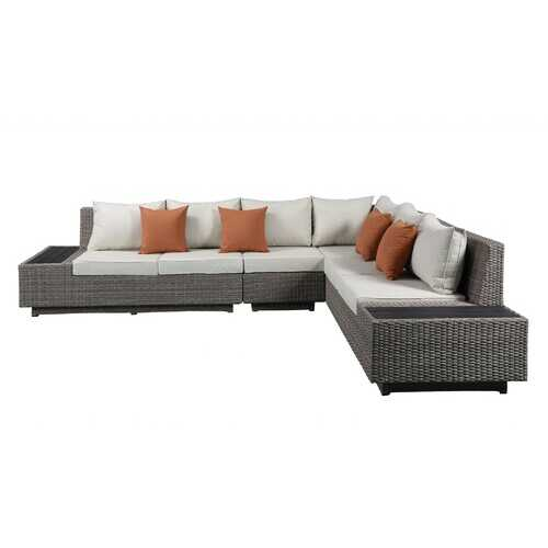 "126"" X 100"" X 30"" Beige Fabric And Gray Wicker Patio Sectional And Cocktail Table"