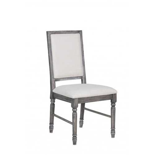 """20"""" X 22"""" X 40"""" 2pc Light Cream Linen And Weathered Gray Side Chair"""