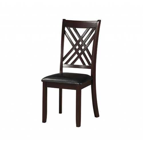 """18"""" X 22"""" X 41"""" 2pc Black And Espresso Side Chair"""