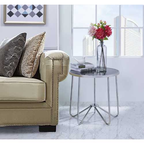 End Table In Chrome And Black - Metal Tube, Glass