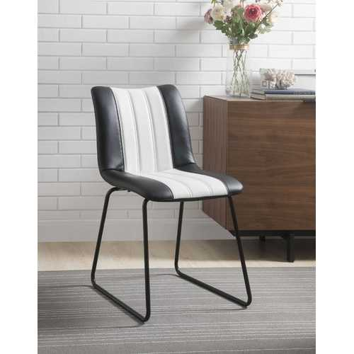 """18"""" X 23"""" X 33"""" Black And White Leatherette Accent Chair"""