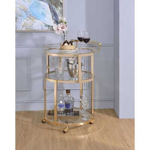 "22"" X 21"" X 34"" Gold And Clear Glass Serving Cart"