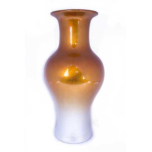 "18"" Ombre Lacquered Ceramic Vase - Orange And White"