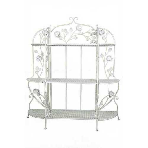 Antique White Bakers Rack with 3 Shelves