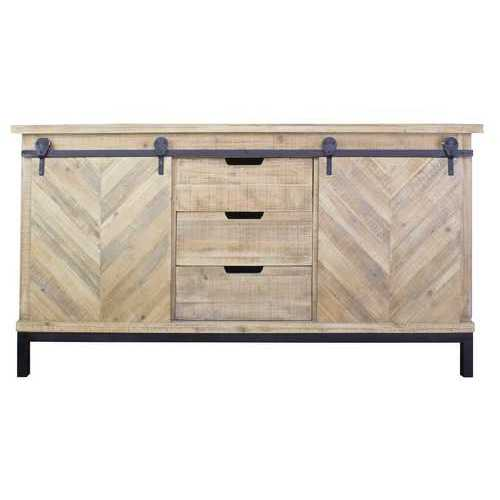 Natural Wood Buffet Cabinet with 2 Doors and 3 Drawers