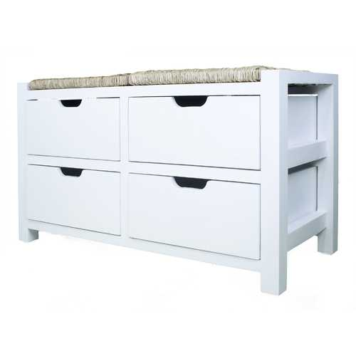 "20"" White Wood Bench with 4 Drawers and a Seagrass Top"