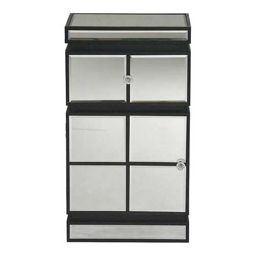 """16"""" X 13"""" X 29"""" Black MDF, Wood, Mirrored Glass Cabinet with a Drawer and a Door"""