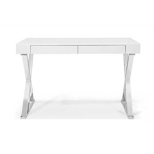 Desk Large, High Gloss White, Two Drawers, Stainless Steel Base