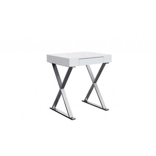 Desk Small, High Gloss White, One Drawer, Stainless Steel Base