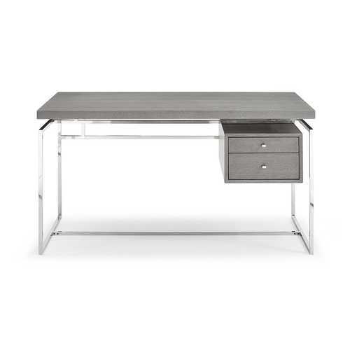 Desk Top & Drawer In Gray Oak Veneer With Stainless Steel Base