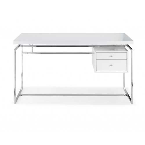 Desk Top & Drawer In High Gloss White With Stainless Steel Base