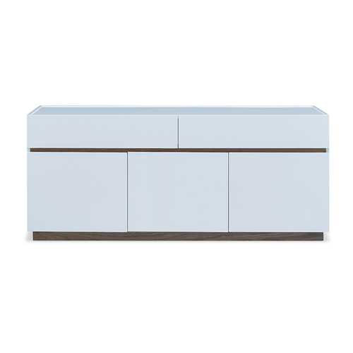 Buffet High Gloss White With Walnut Veneer Accent Trim And Base 2 Large Drawers