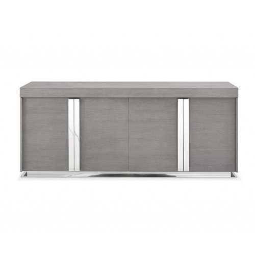 Buffet In Gray Oak Veneer And Polished Stainless Steel