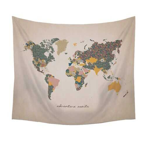 """Adventure Await"" Map Wall Tapestry"