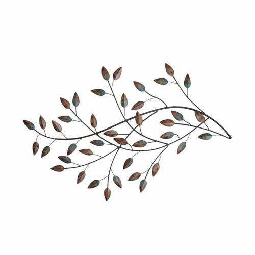 Gold and Teal Blowing Leaves Metal Wall Decor