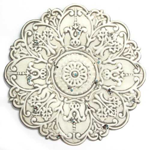 "13"" X 0.5"" X 13"" Small White Medallion Wall Decor"