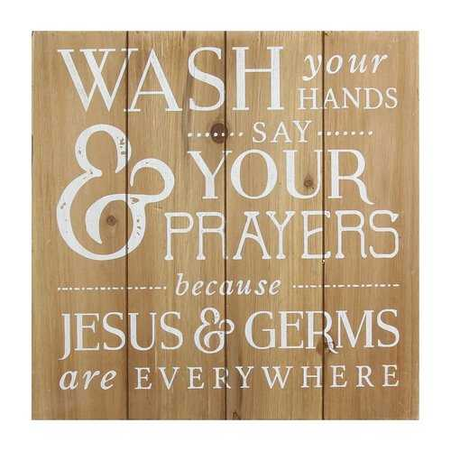 """Wash Your Hands, Say Your Prayers"" Wooden Bath Wall decor"