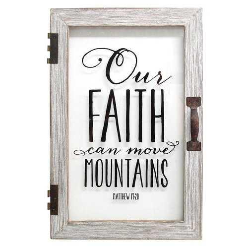 "12"" X 1.5"" X 18"" Our Faith Can Move Mountains Printed Glass Decor"