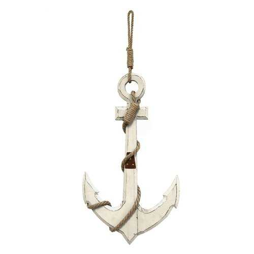 "12.6"" X 1.77"" X 22.83"" White Nautical Anchor Wall Decor"