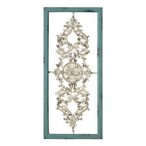"36"" X 0.75"" X 16"" Teal on White Scroll Panel Wall Decor"