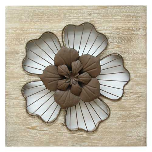 "14"" X 1.25"" X 14"" Natural Wood Rustic Flower Wall Decor"