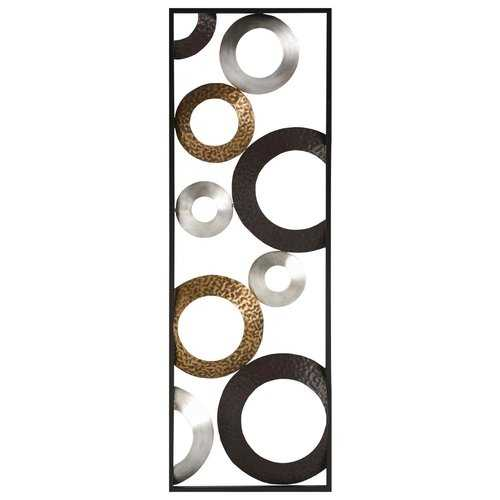 "12"" X 0.75"" X 36"" Metallic Geometric Panel Wall Decor"