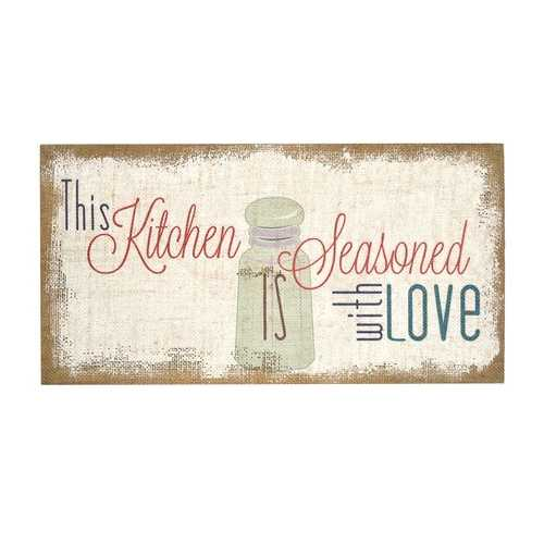 """Seasoned With Love"" Typography Burlap"