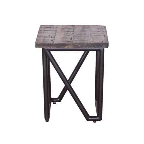 "14"" X 14"" X 18"" Natural/Black Wood Iron Stool Mixed"