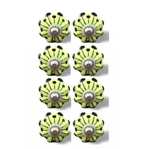 "1.5"" X 1.5"" X 1.5"" Hues Of Lemon, Black And Silver 8 Pack Knob-It"